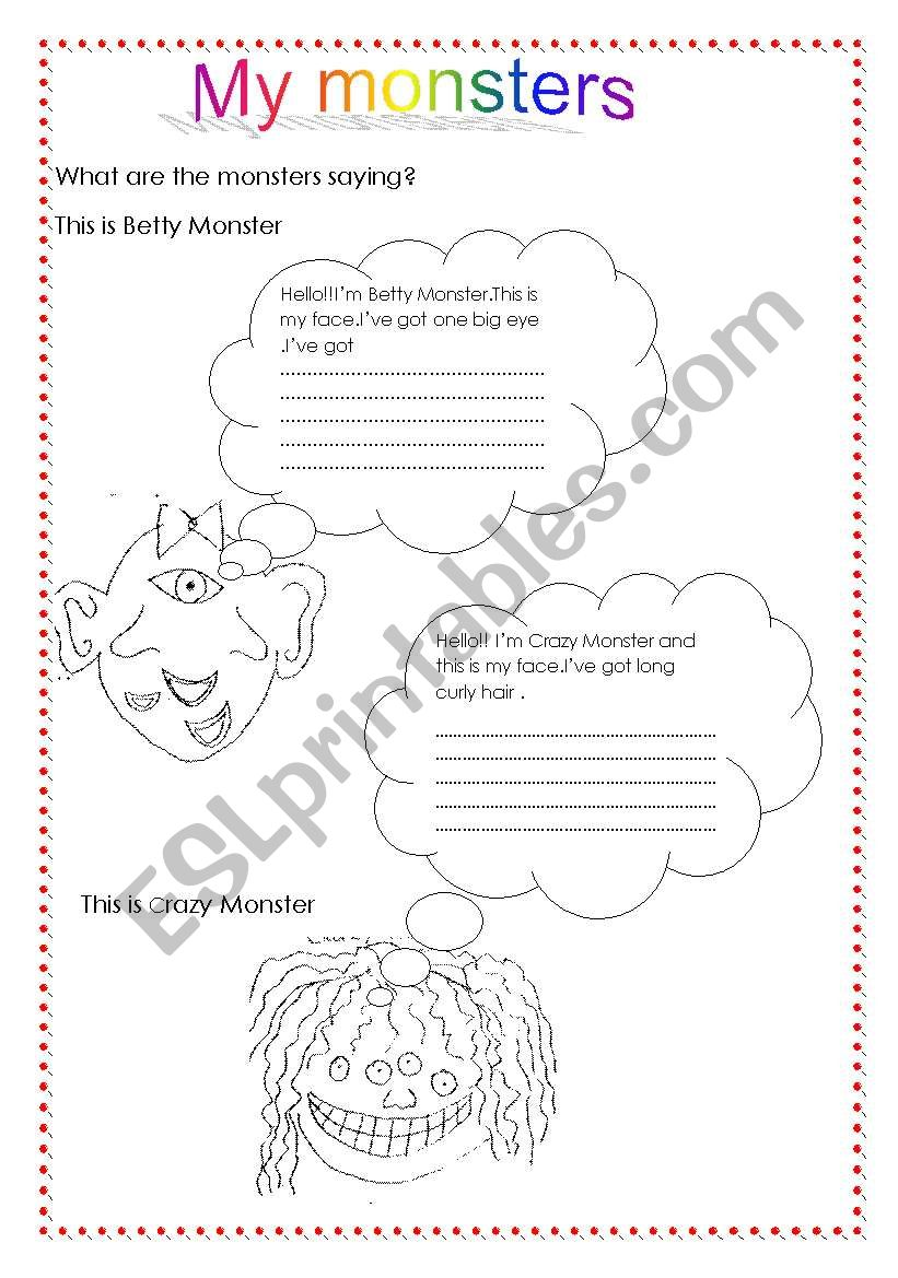 My monsters/have got worksheet