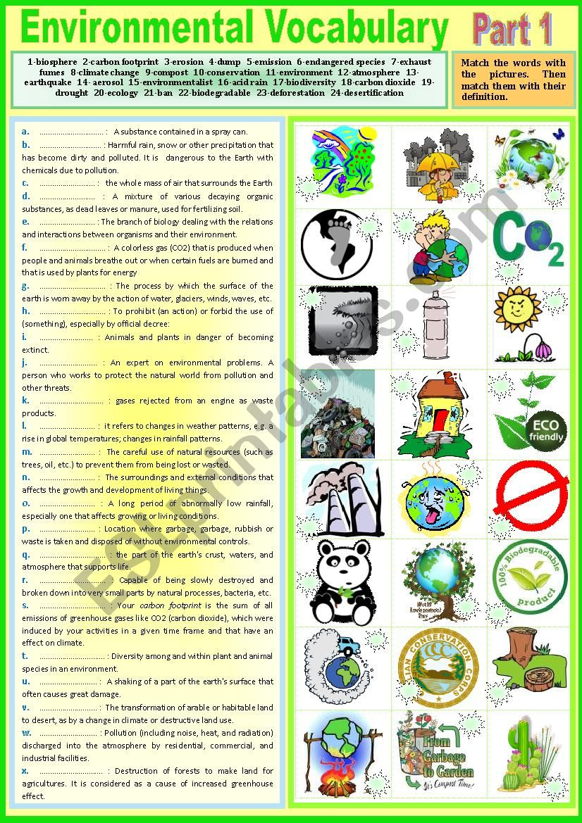 voca environmental vocabulary part 1 pictionary matching definitions key esl worksheet. Black Bedroom Furniture Sets. Home Design Ideas