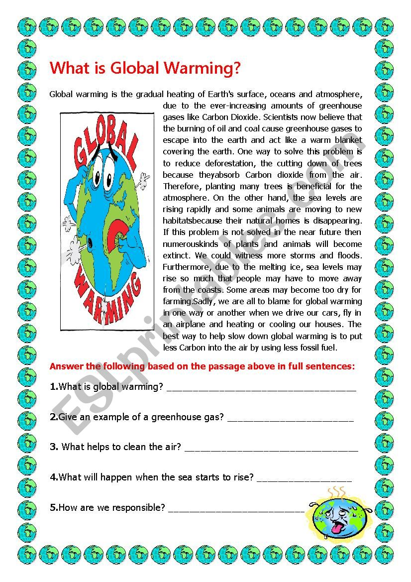 What Is Global Warming Esl Worksheet By Elle81