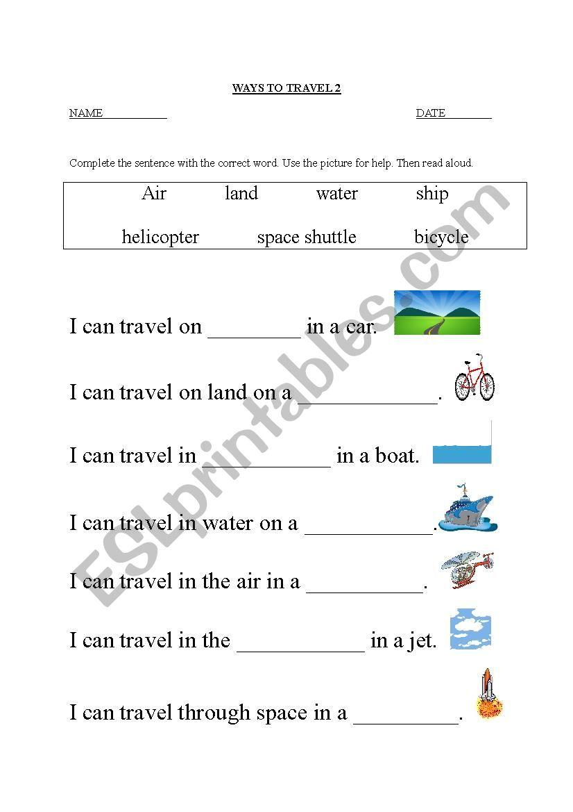Ways To Travel worksheet