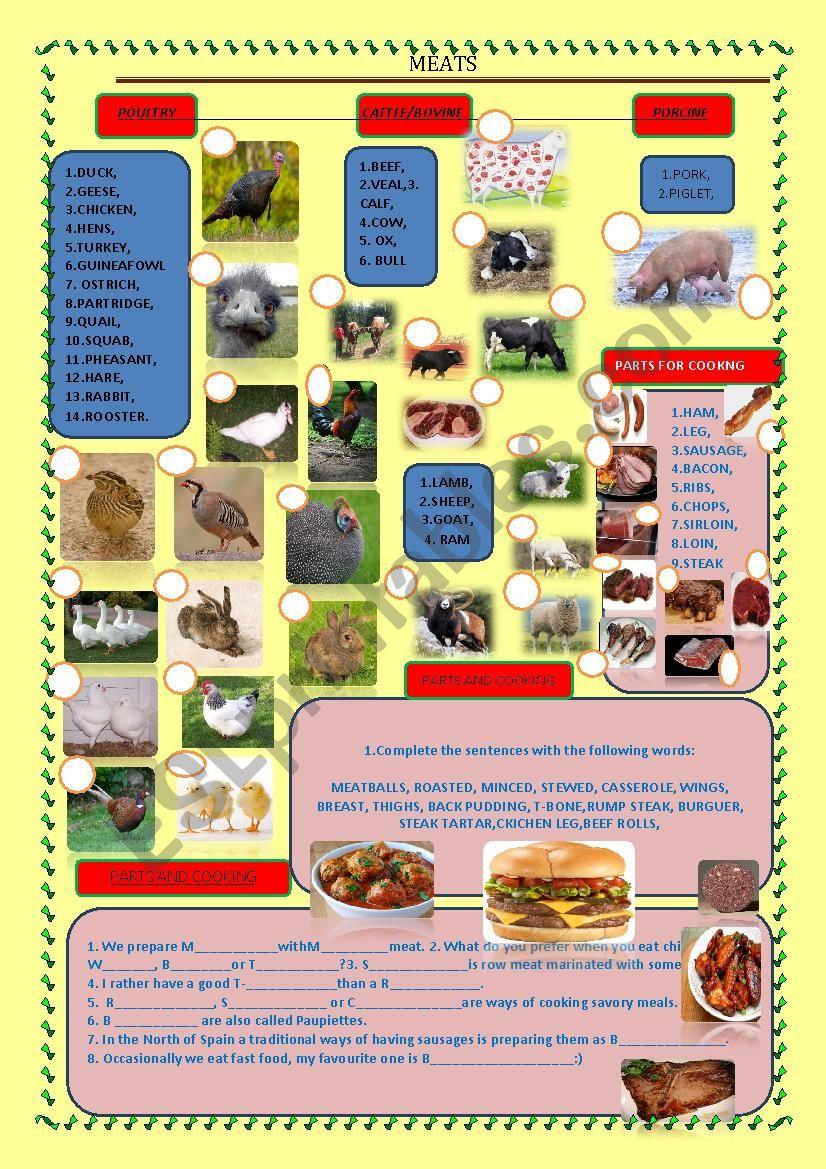 Meat worksheet