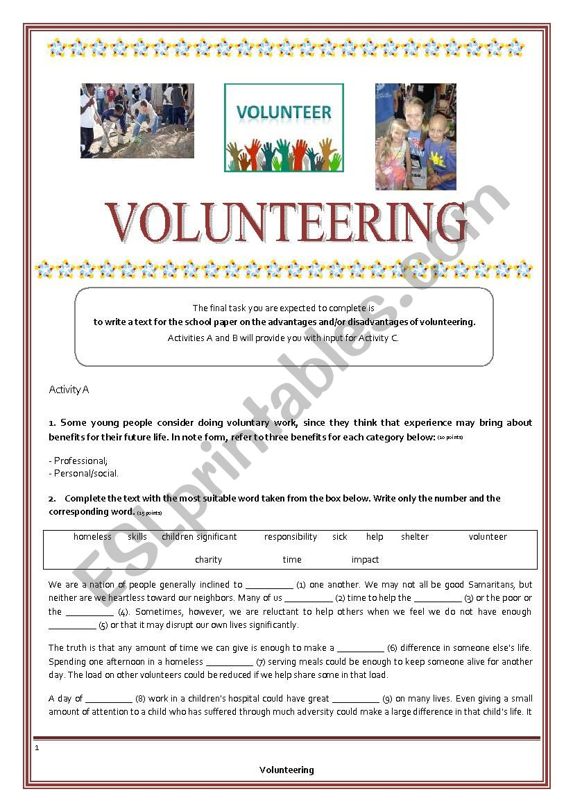 Teens and Volunteering - Key is provided