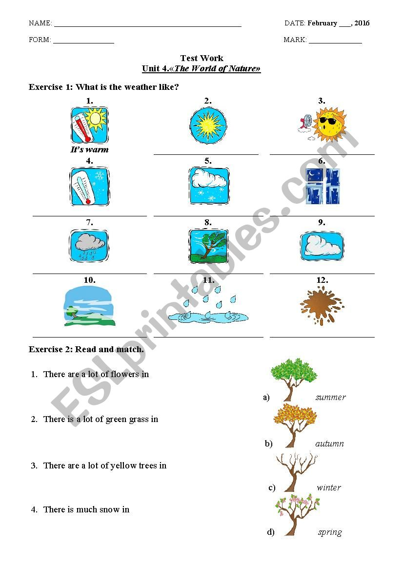 The World of Nature worksheet