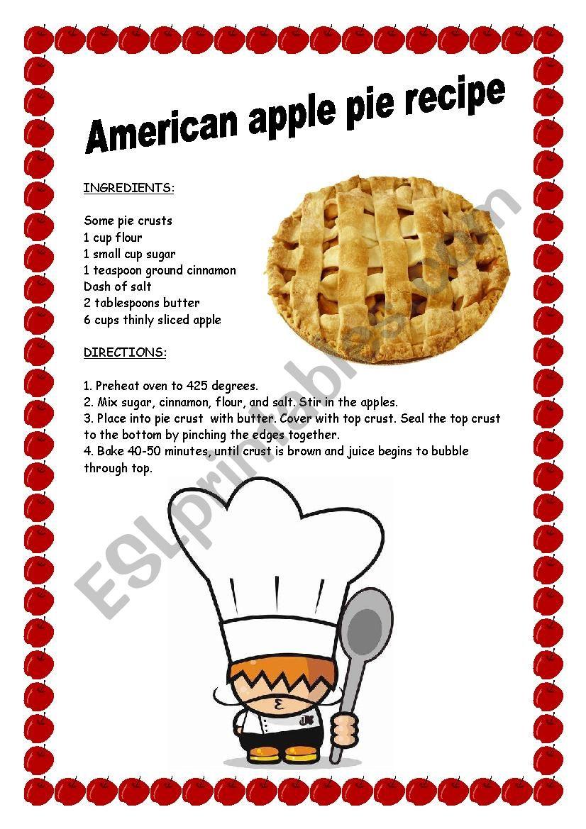 AMERICAN APPLE PIE RECIPE worksheet
