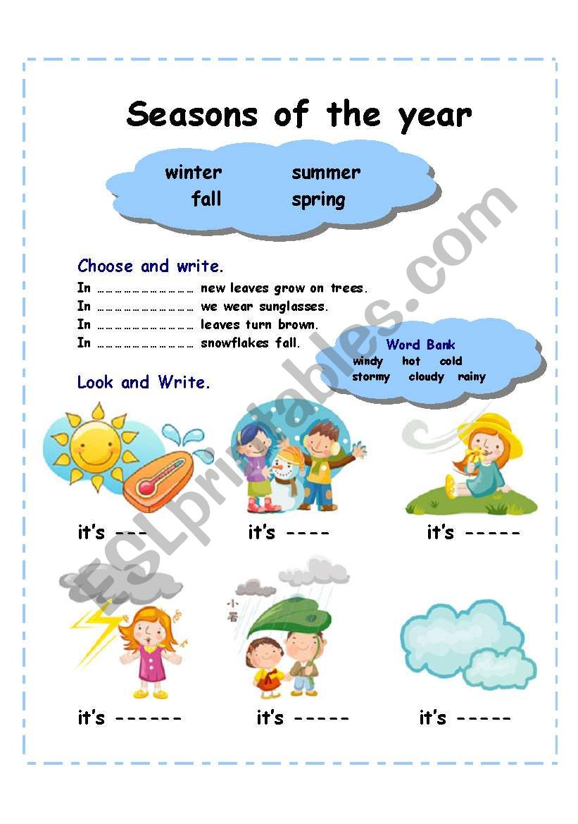 Seasons of the year (2 pages) worksheet