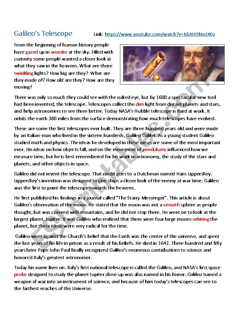 Galileo´s Biography  worksheet
