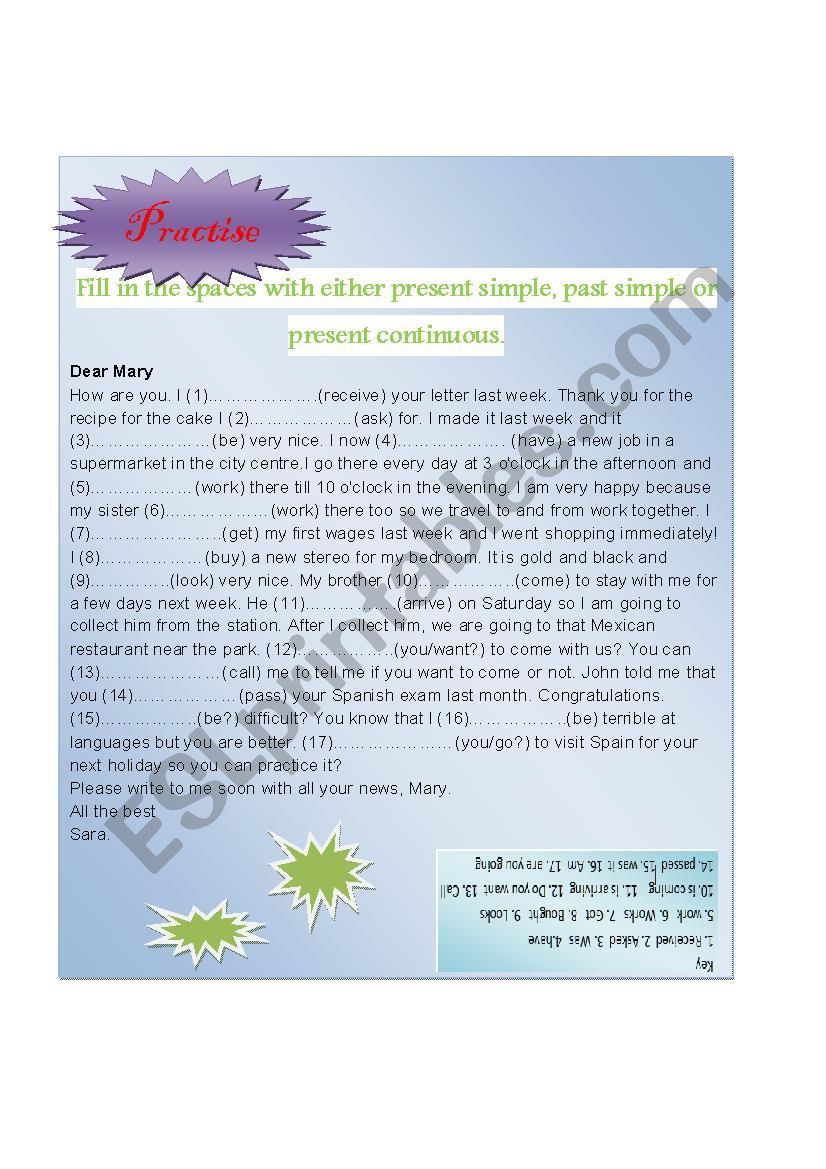 Practise: simple present, simple past and present continuous tenses