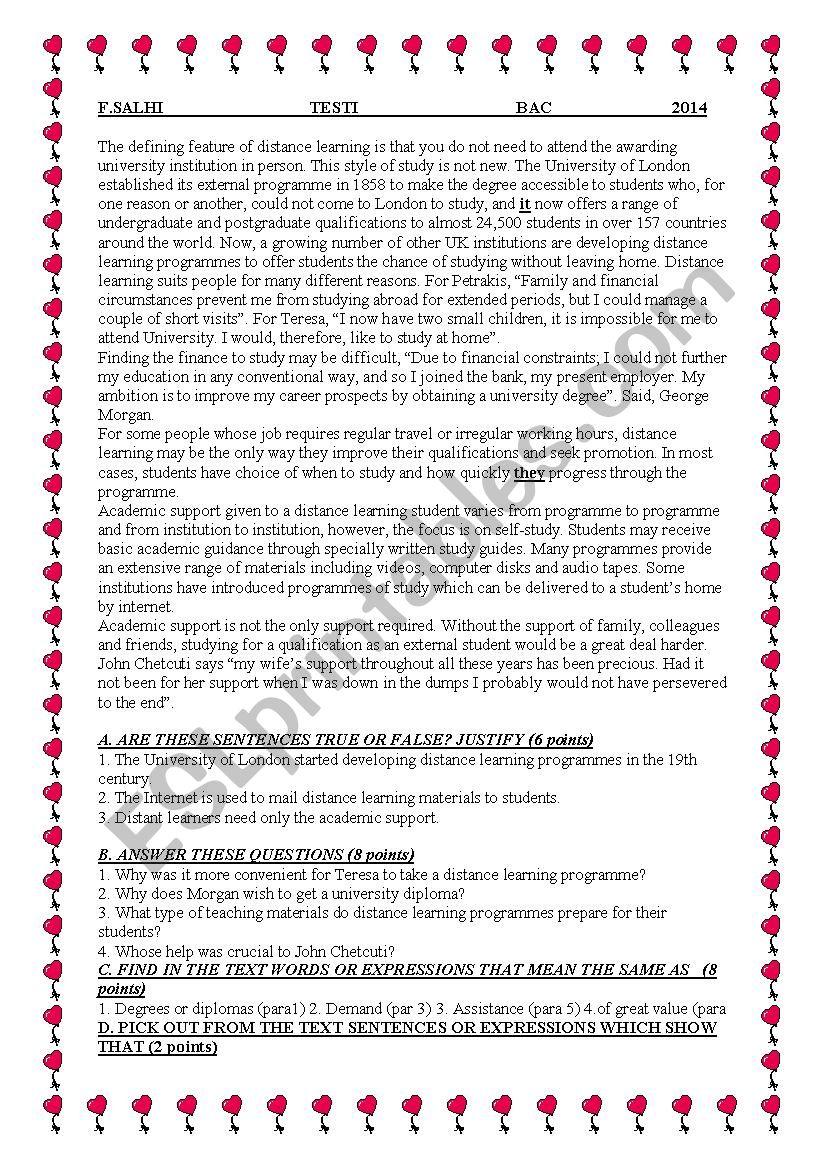 global test worksheet