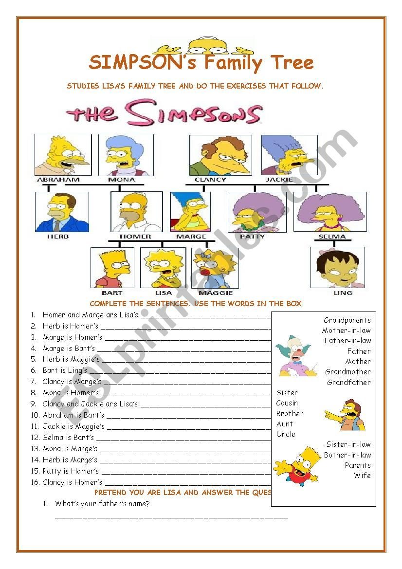 Family Tree - The Simpsons worksheet
