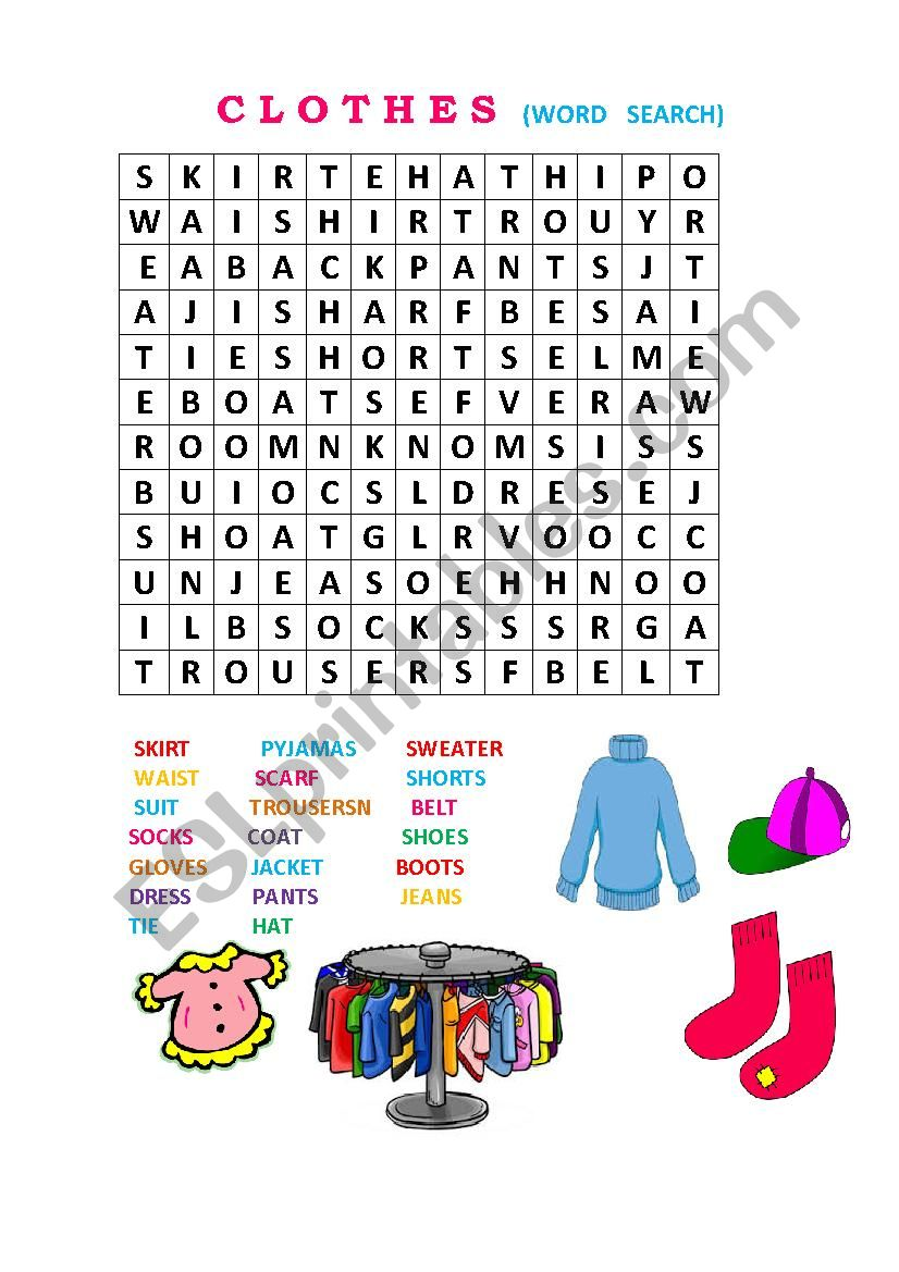 clothes ws worksheet