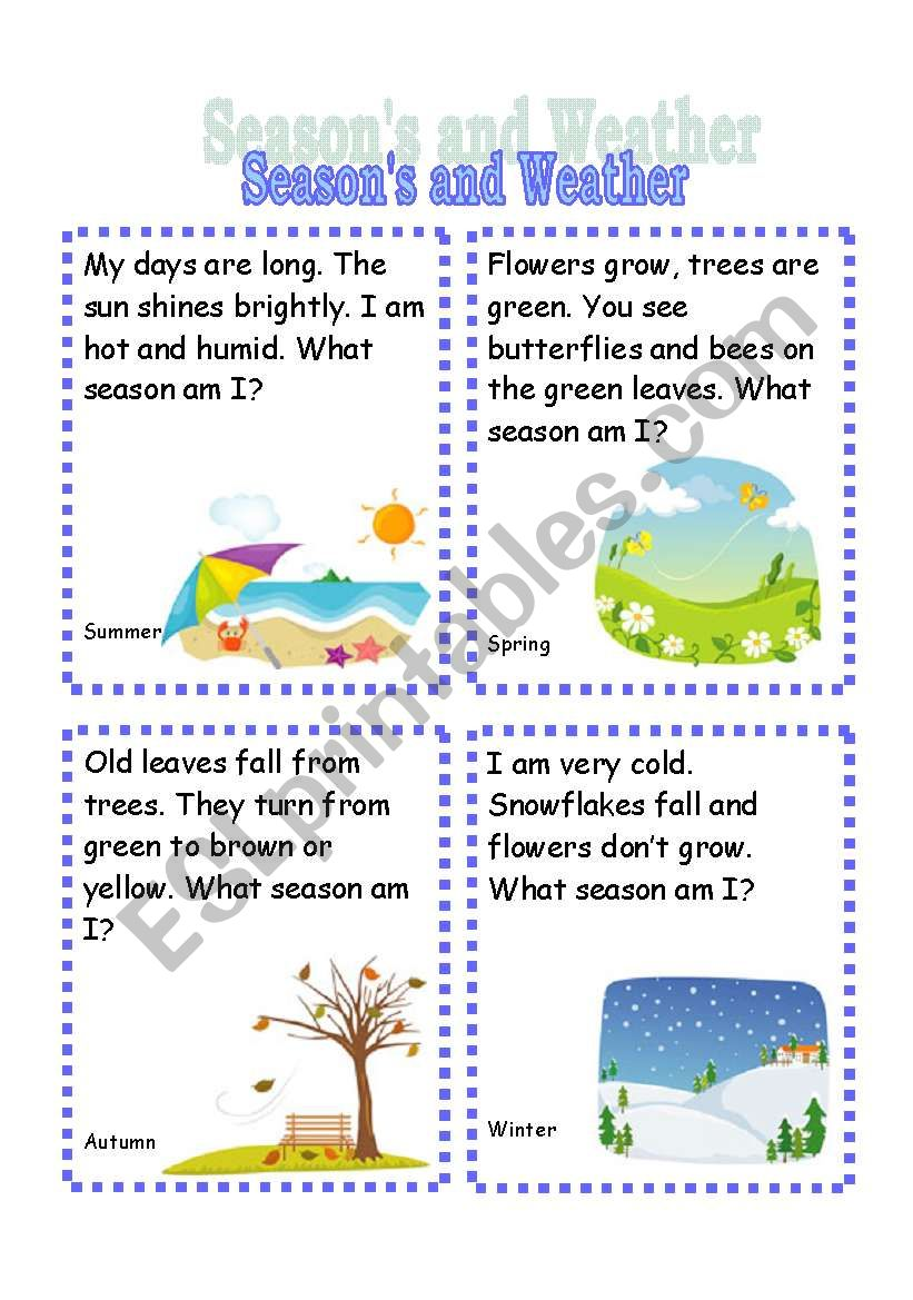 Seasons and Weather Riddle Cards (3rd set)
