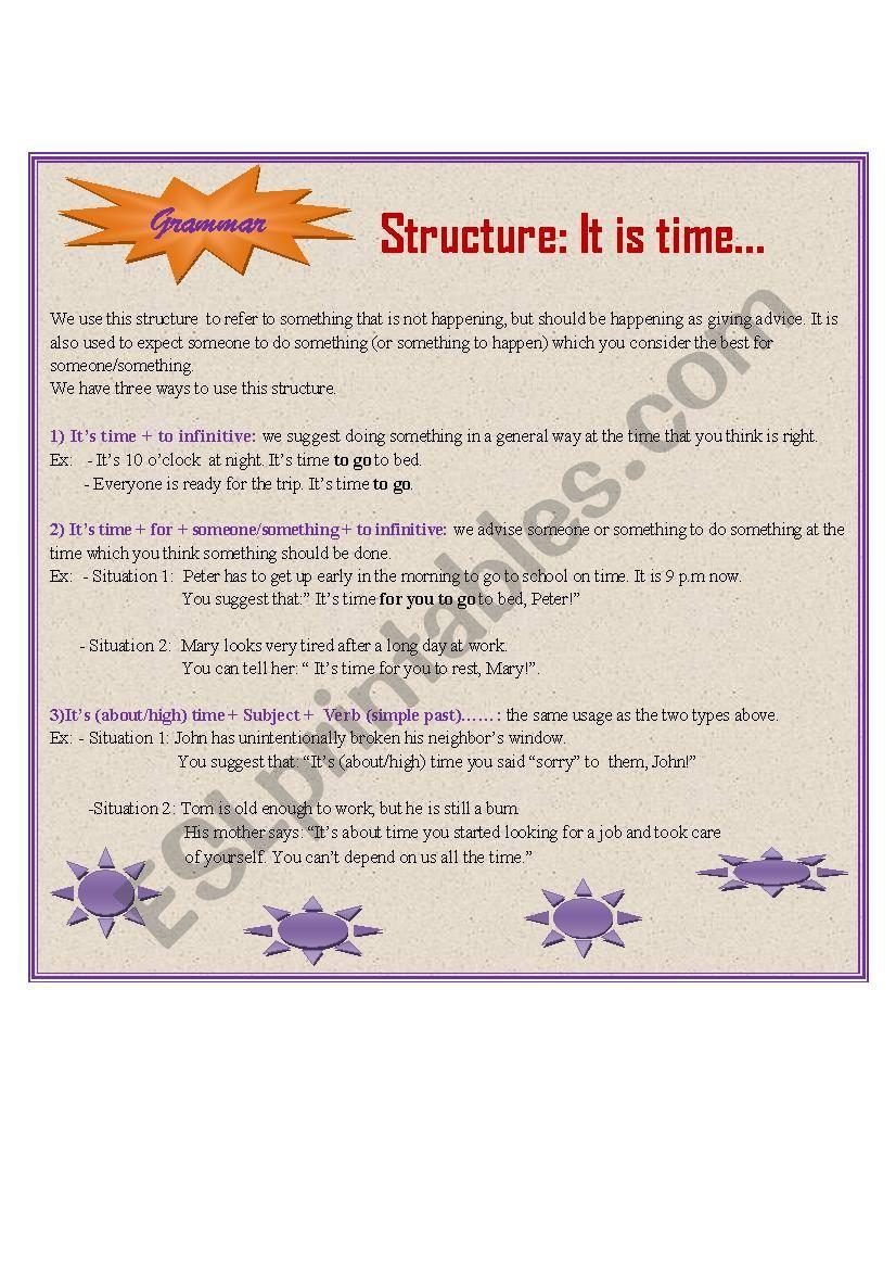 Struture: It´s time... worksheet