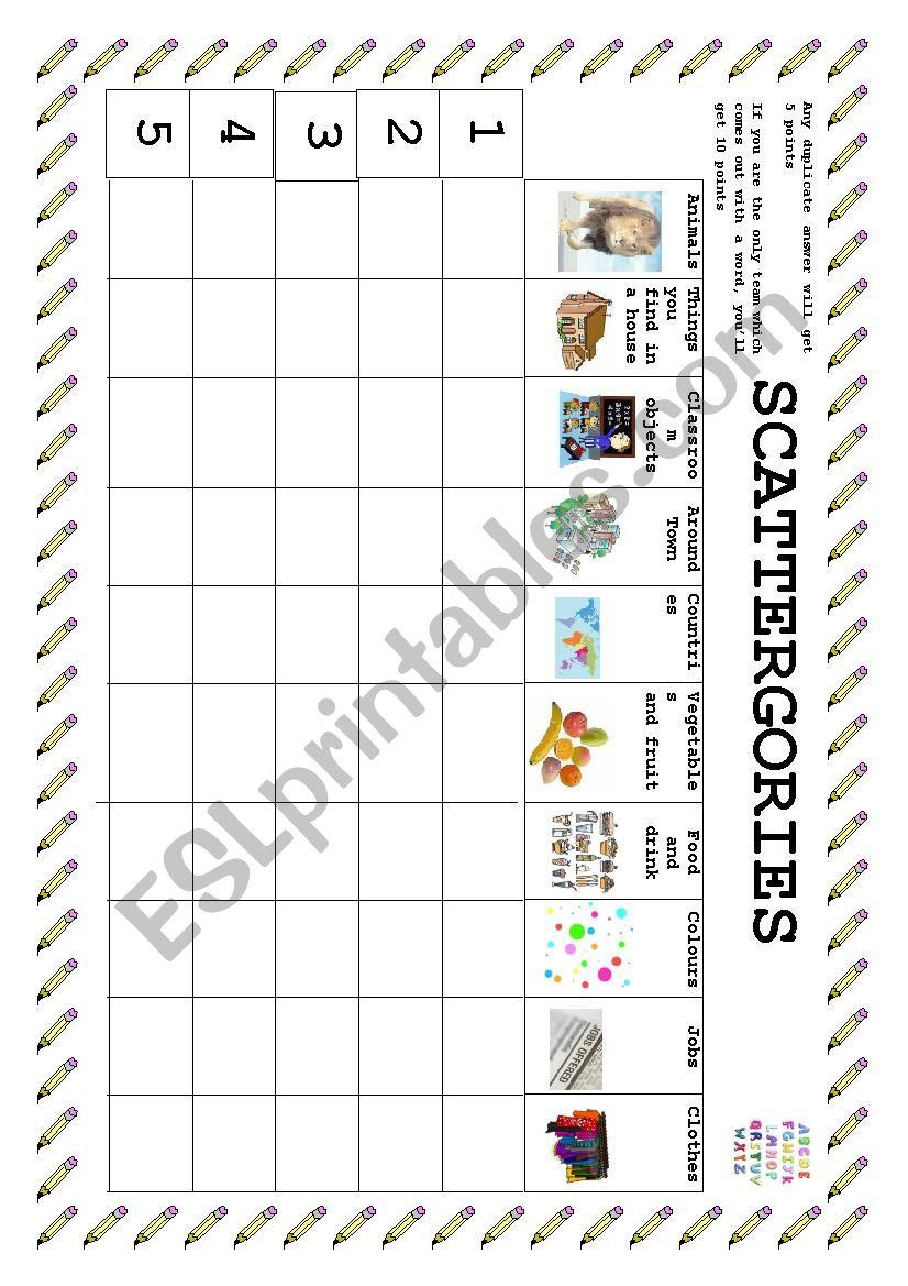 scattergories - ESL worksheet by tamarveas