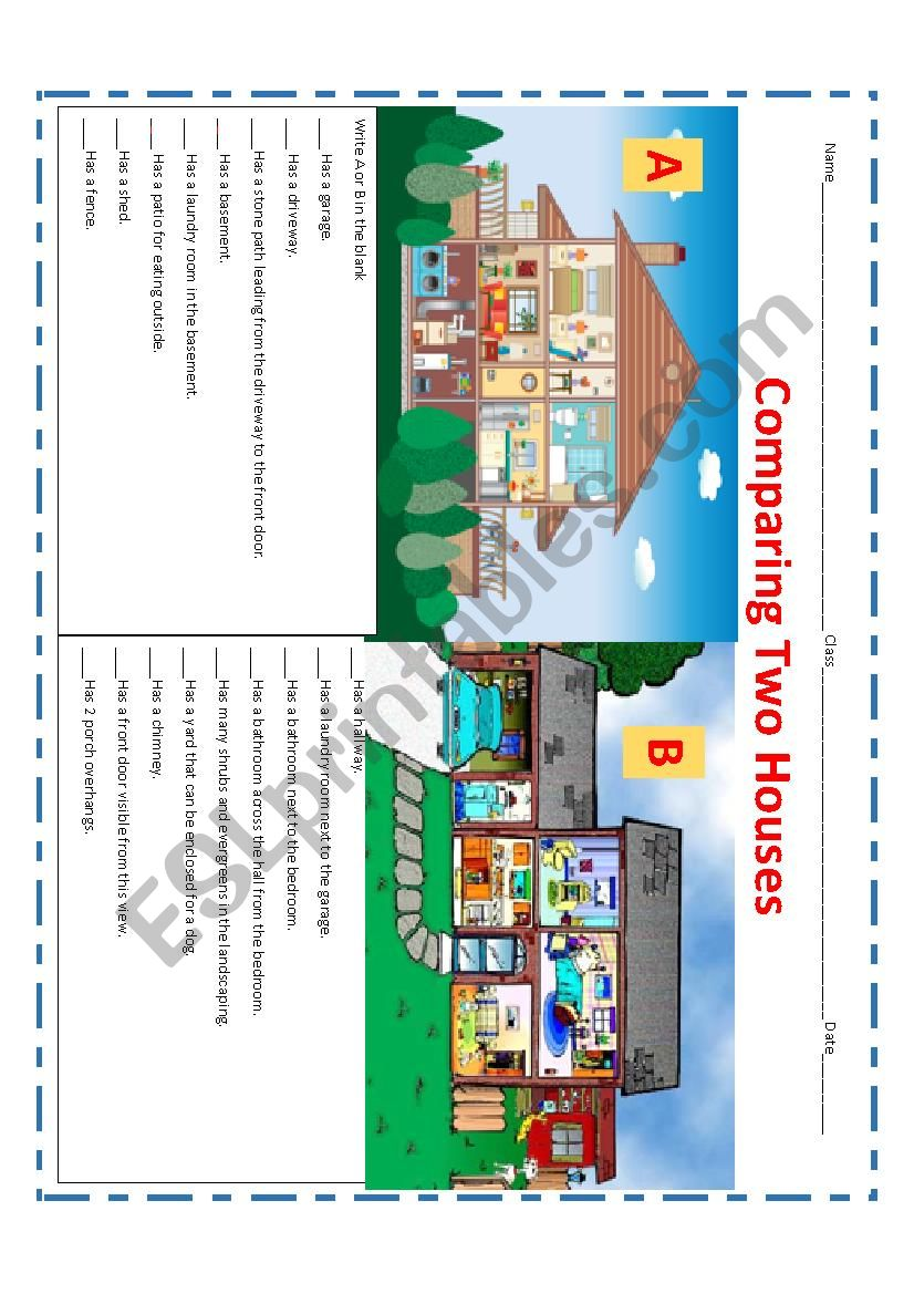 Comparing Two Houses worksheet