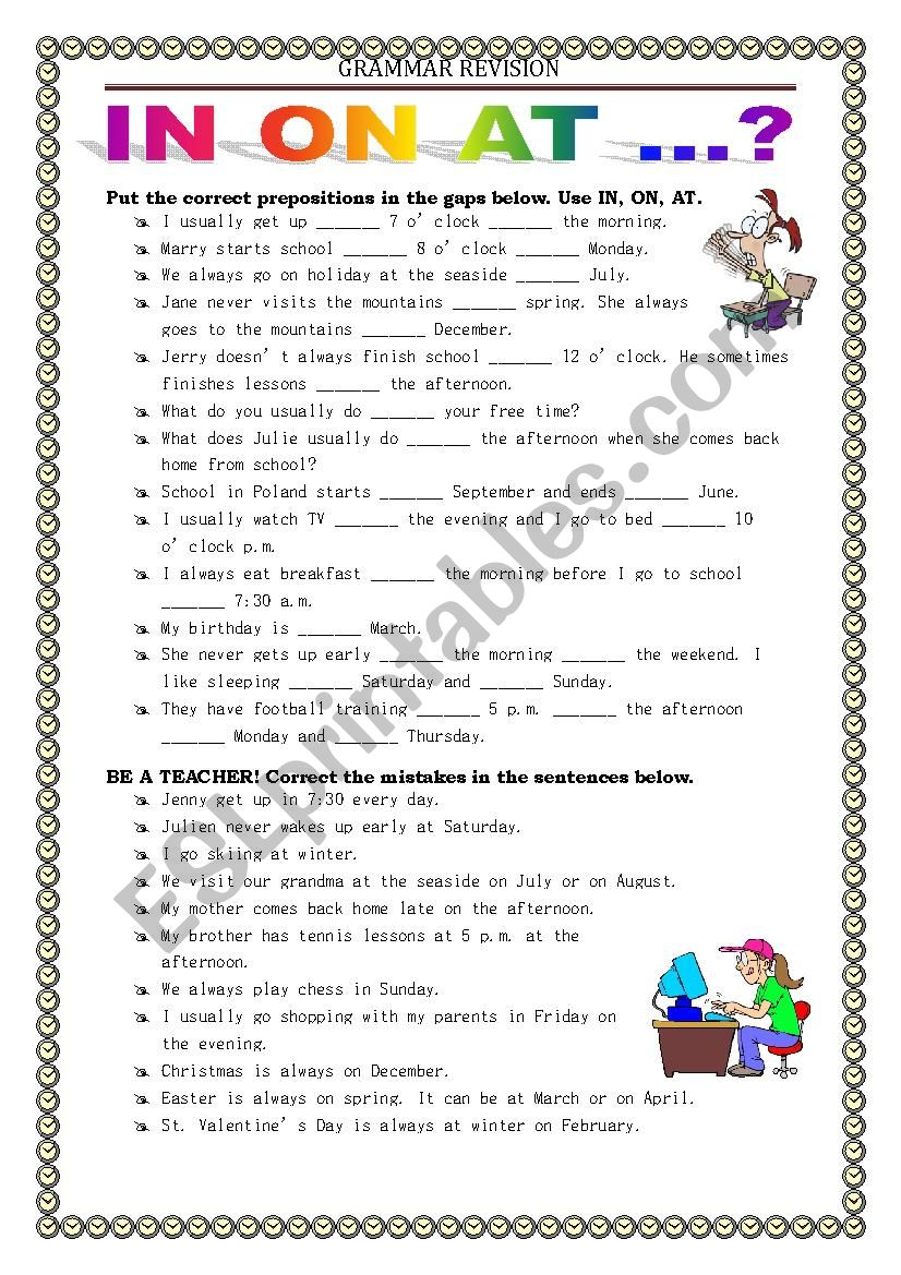 GRAMMAR REVISION - prepositions in on at