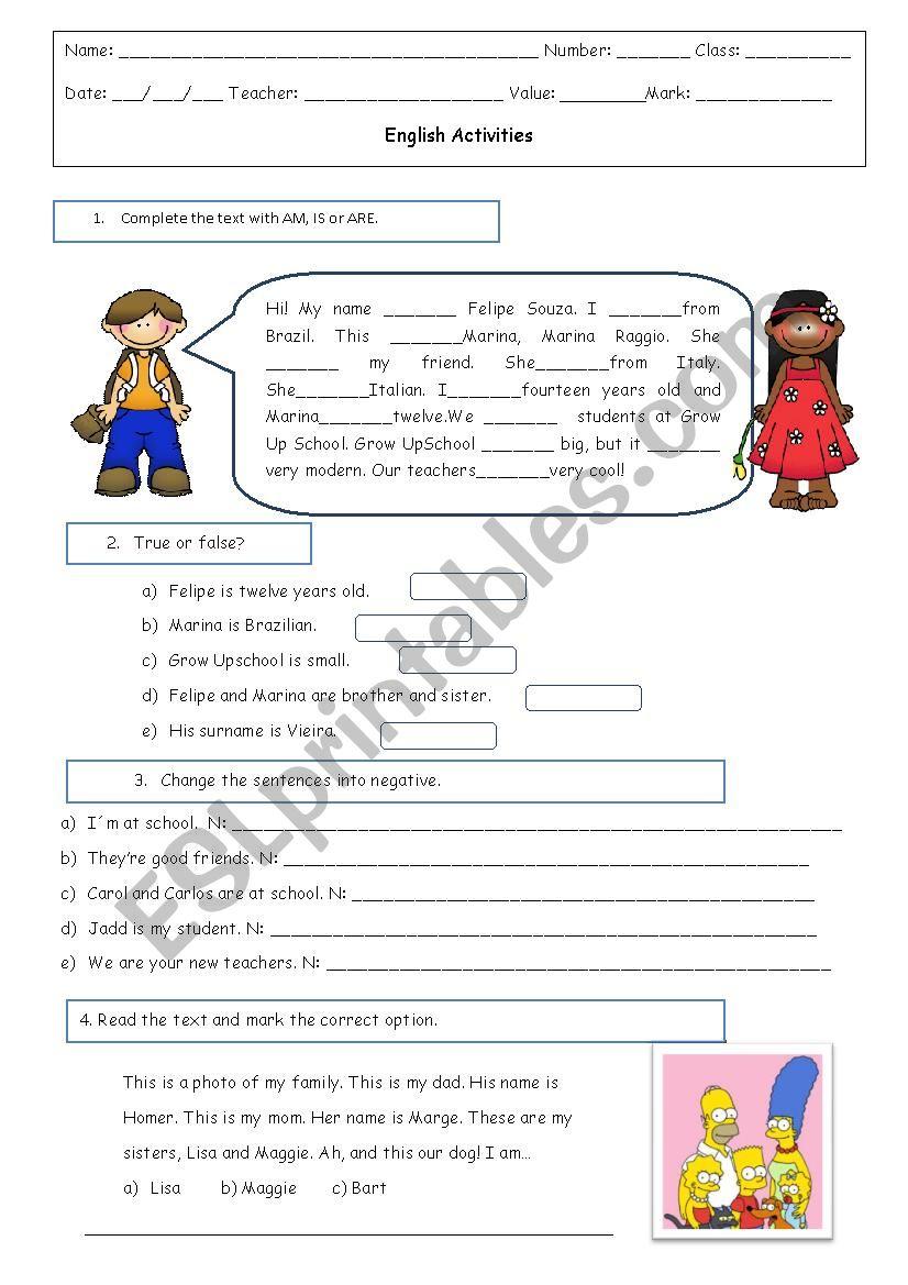 Be + family worksheet