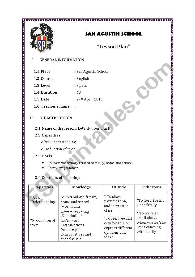 MODEL CLASS worksheet