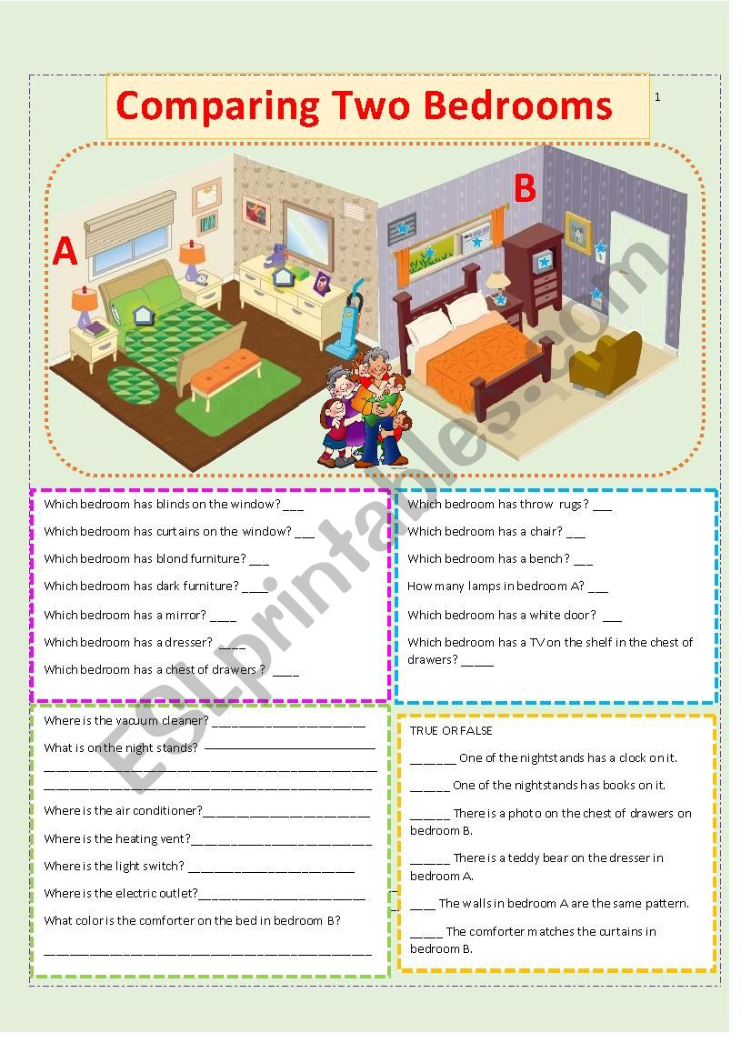 Comparing Two Bedrooms worksheet