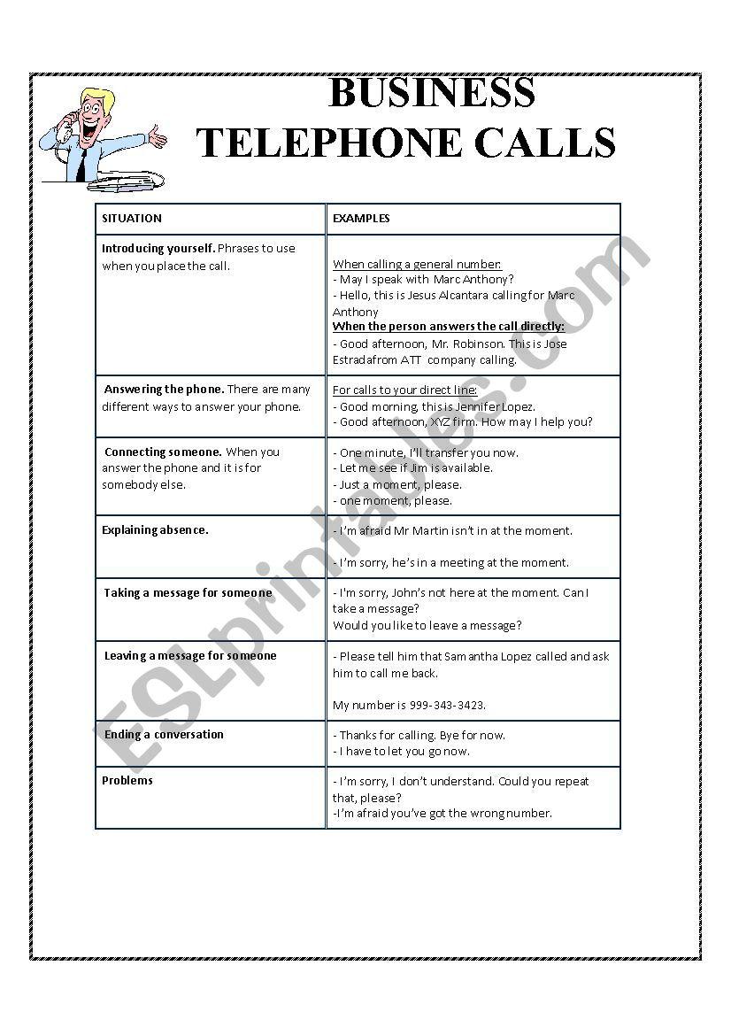 business phone calls worksheet