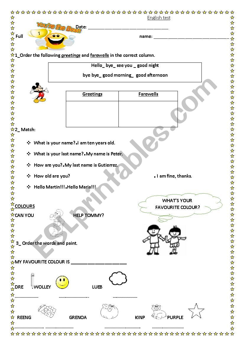 6º test worksheet