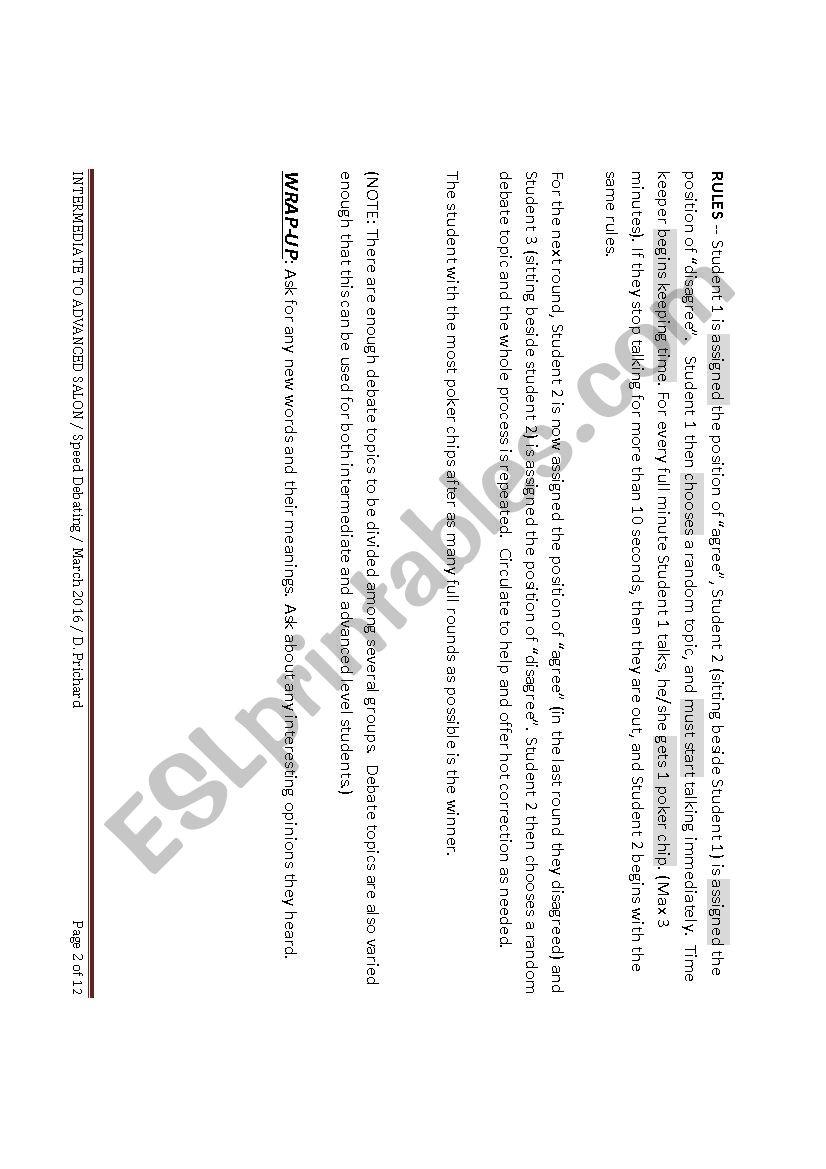 high intermediate to advanced salon speed debating esl worksheet