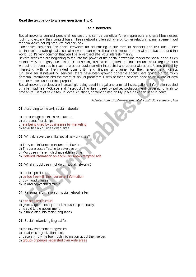 FCE LEvel Texts worksheet
