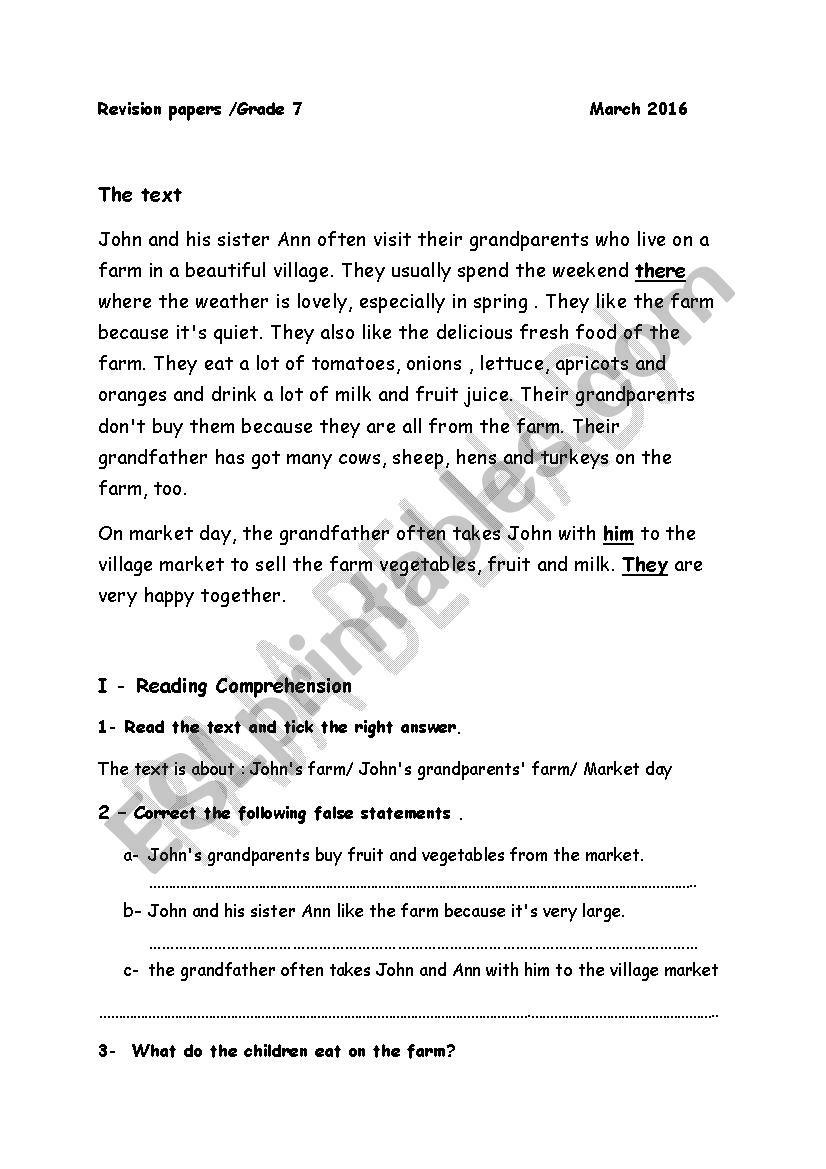 Revision paper for grade 7 Tunisian programme module3 - ESL