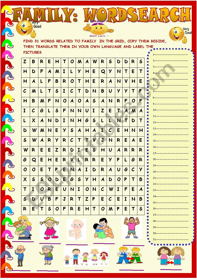 Family  wordsearch with key worksheet
