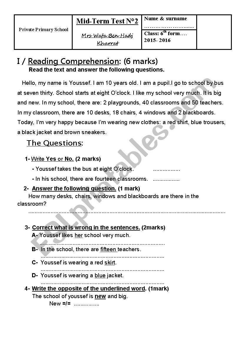 Mid Term Test n° 2 - 6th form worksheet