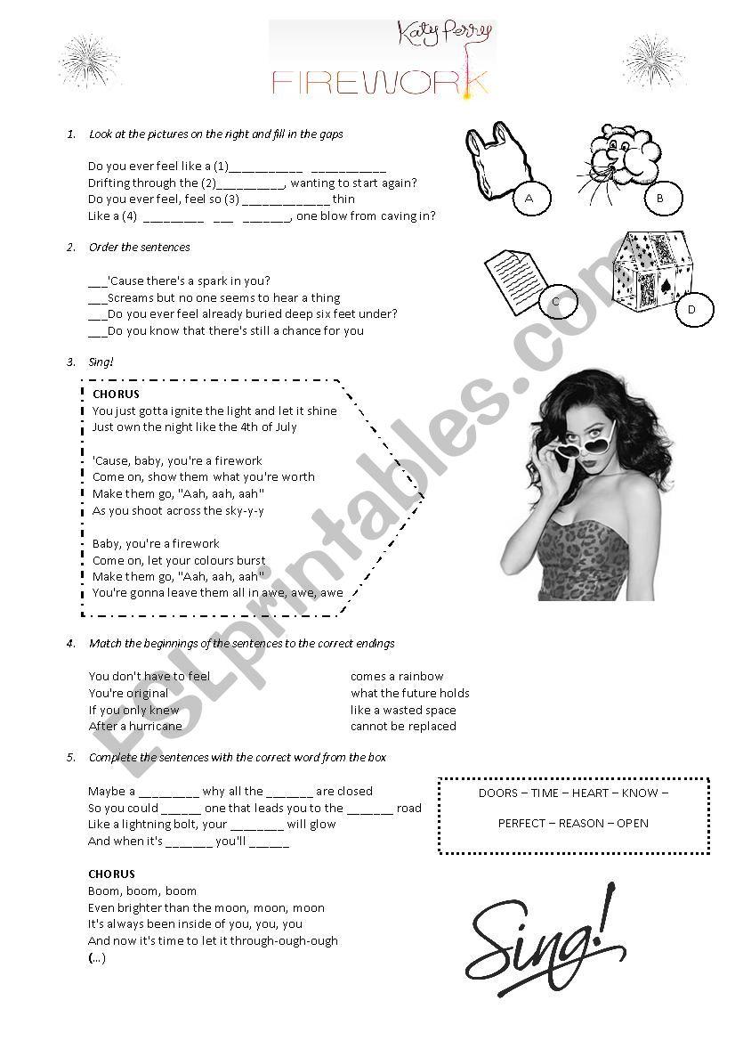 Katy Perry  - Firework worksheet