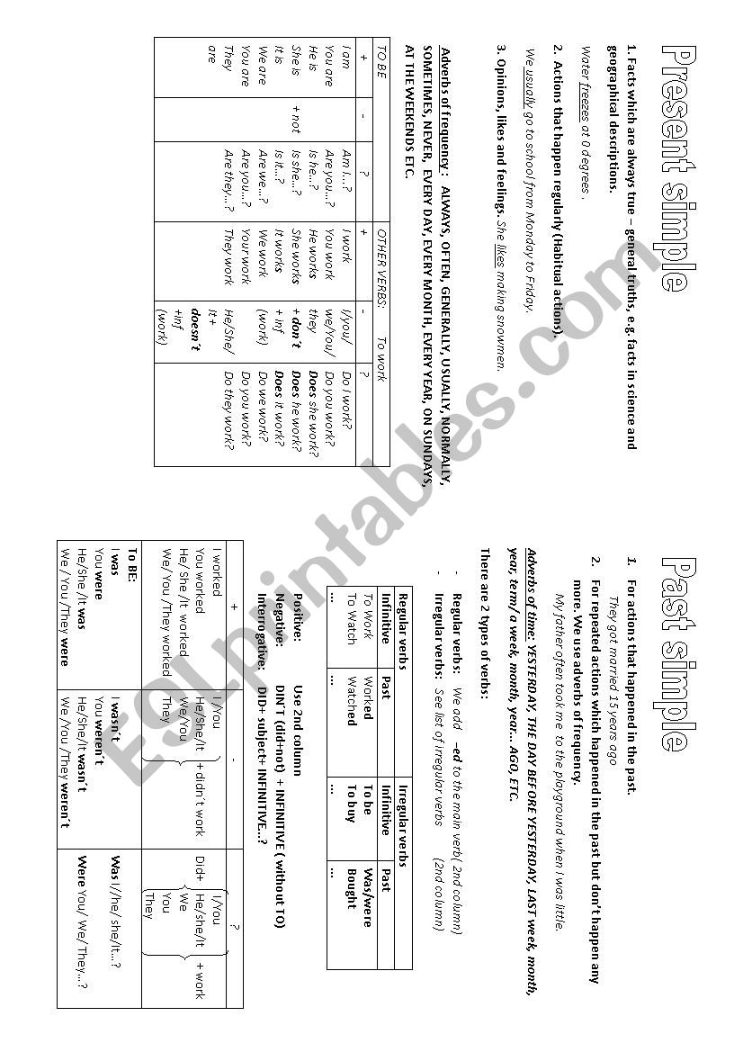 PRESENT VS PAST worksheet