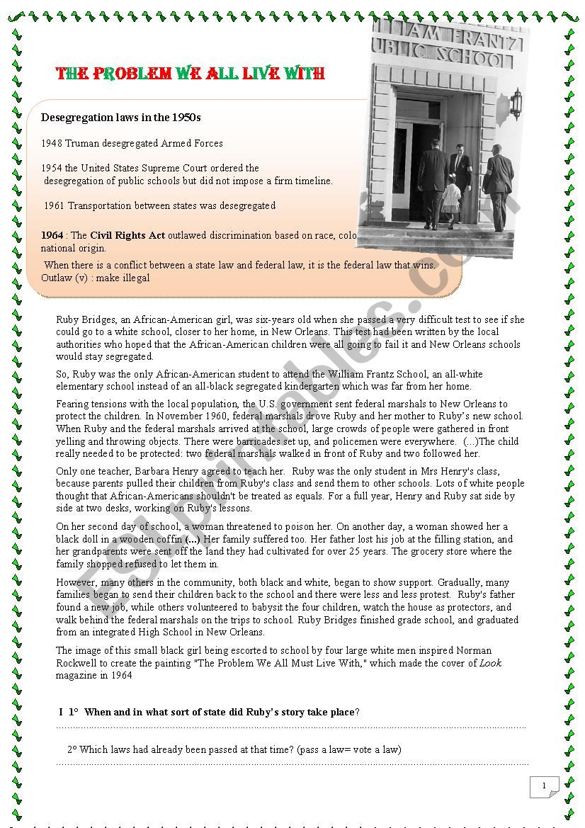 Ruby Bridges And Civil Rights Movement Number 2 Esl Worksheet By