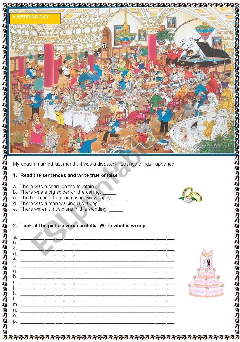 A wedding day  worksheet