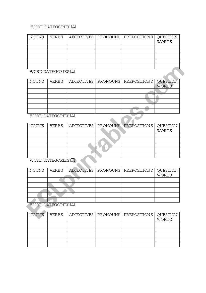 Categories  worksheet