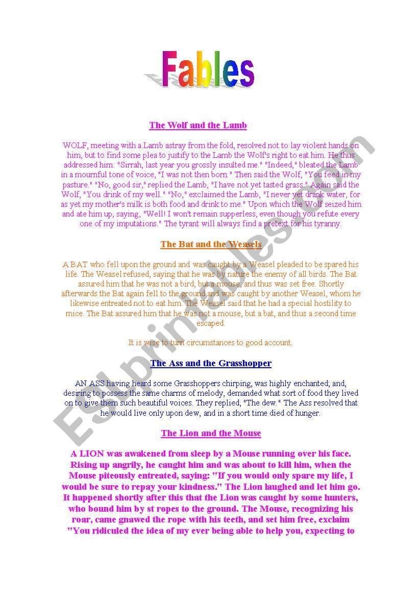 Fables worksheet