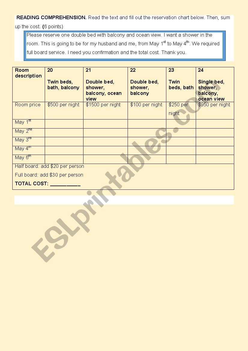 Hotel reservation by e-mail worksheet
