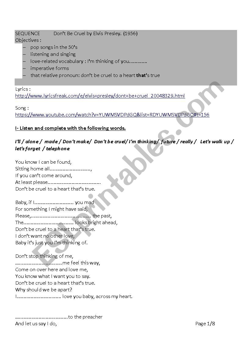 Don T Be Cruel By Elvis Presley Esl Worksheet By Aegurbide