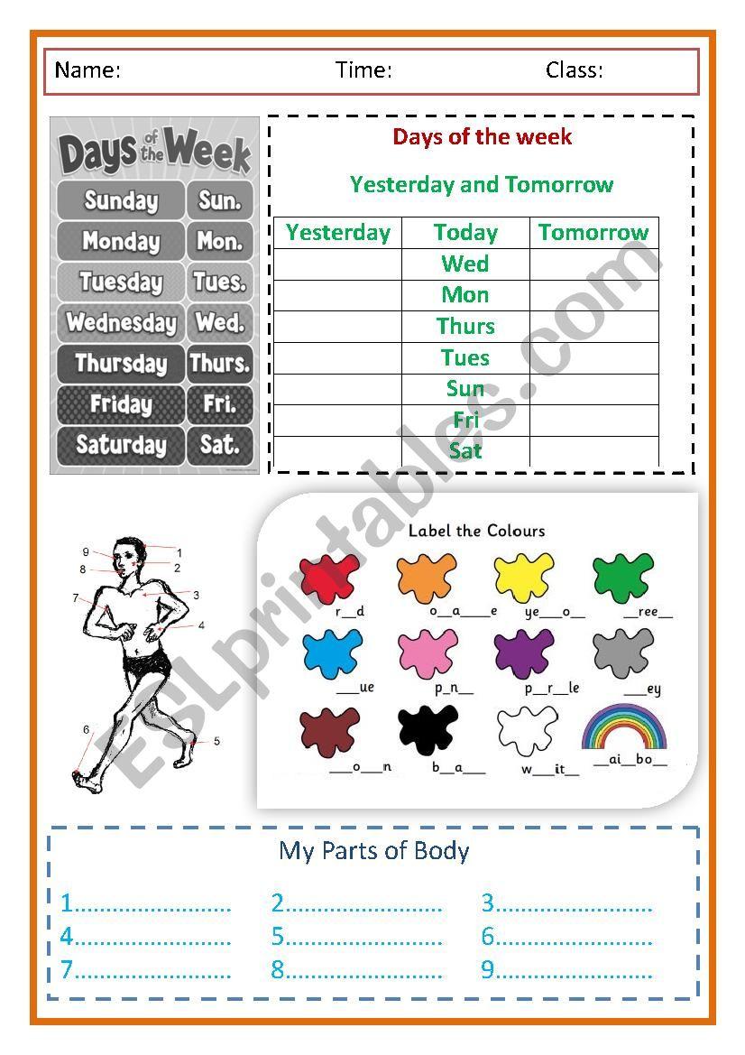 Easy Vocabulary worksheet