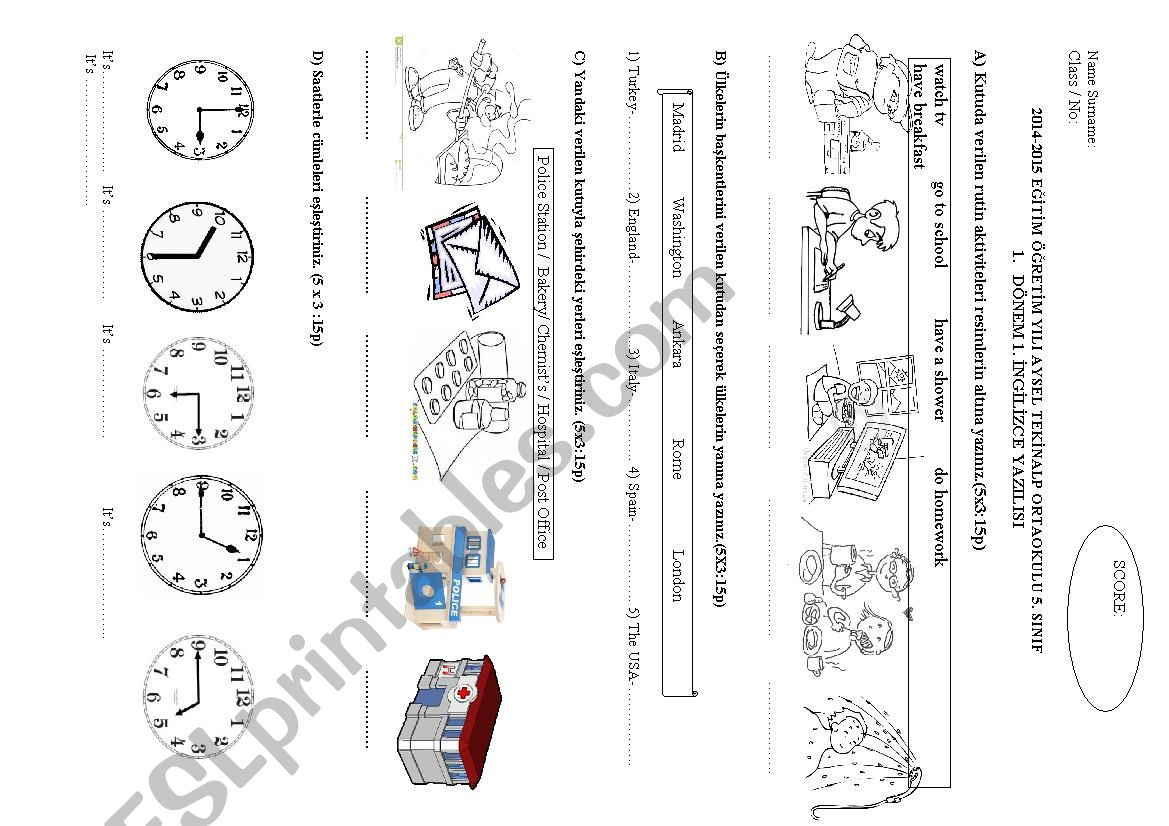 5th grade exam worksheet