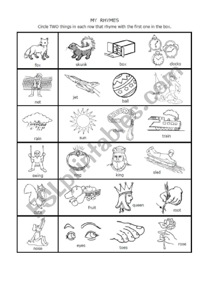 - 1-syllable Rhymes 1st Grade - ESL Worksheet By Nwagdy