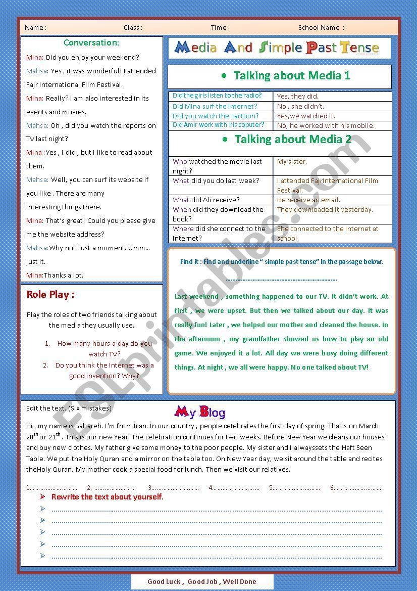 Media and Simple Past Tense worksheet