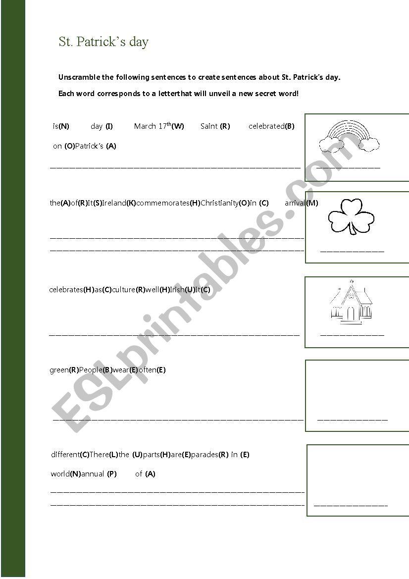 St. Patrick´s day elementary worksheet - ESL worksheet by ...