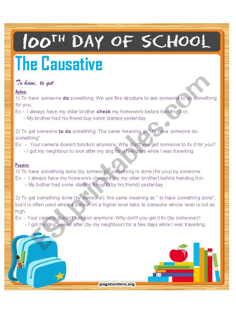 The Causative worksheet