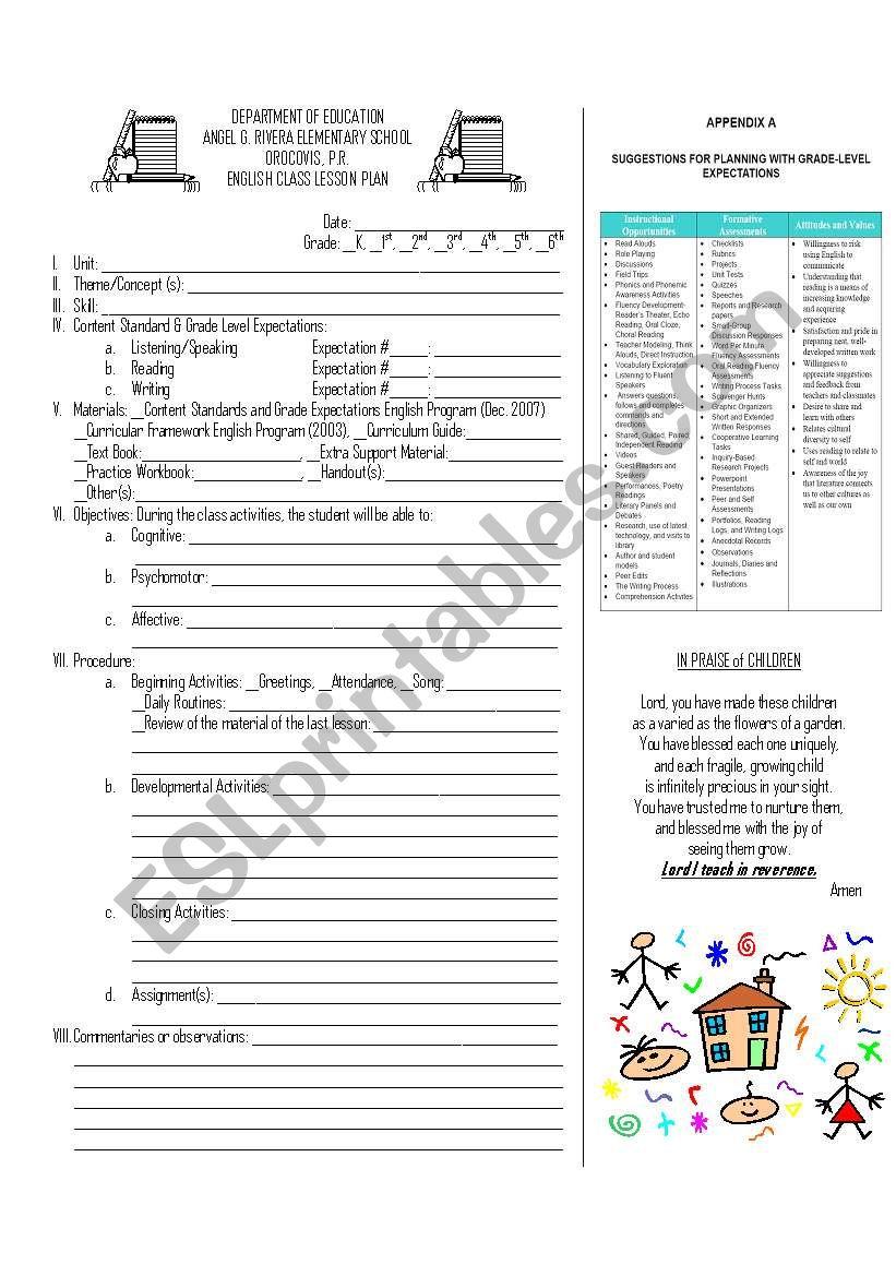 ESL Lesson plan sample worksheet