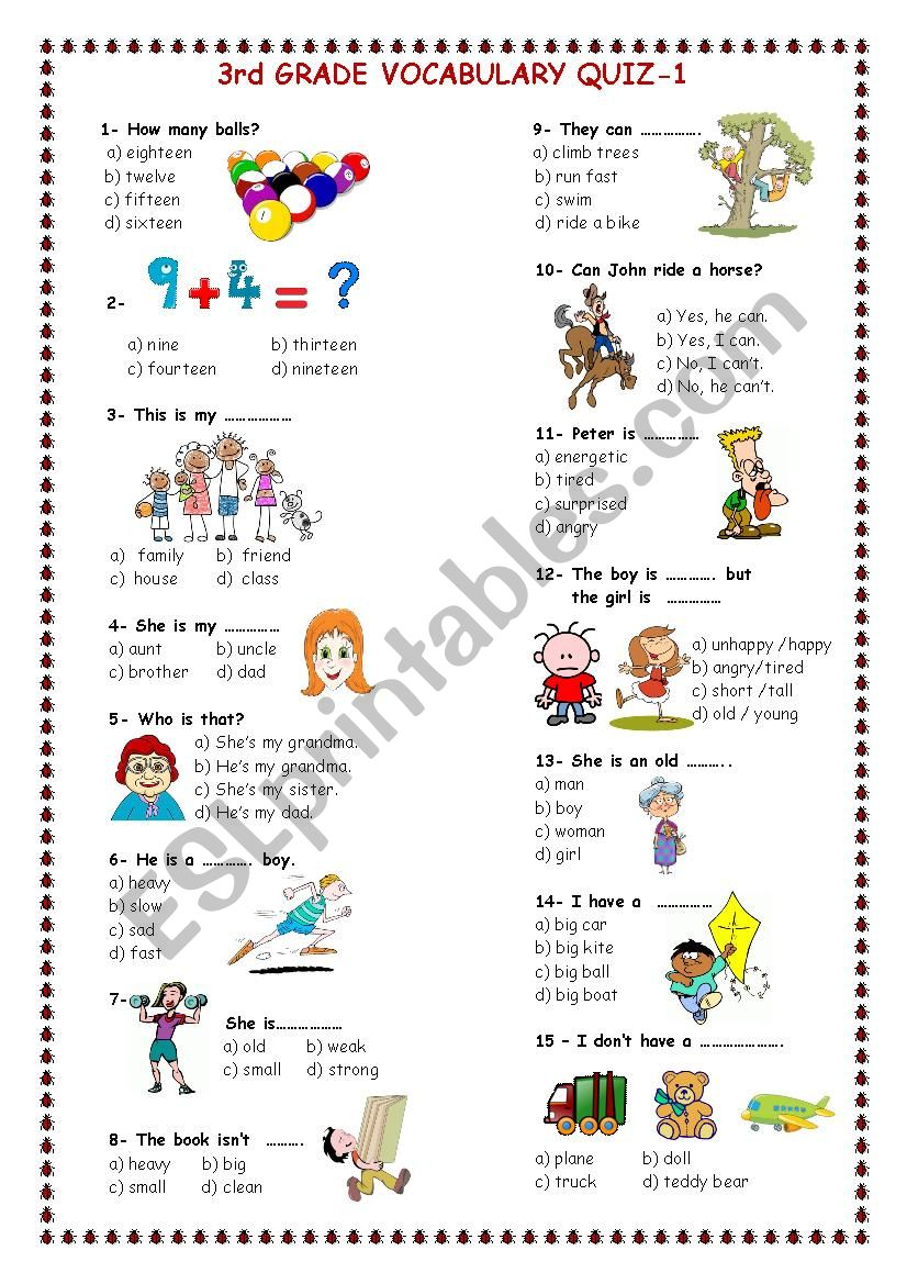 3rd grade vocabulary quiz 1 worksheet