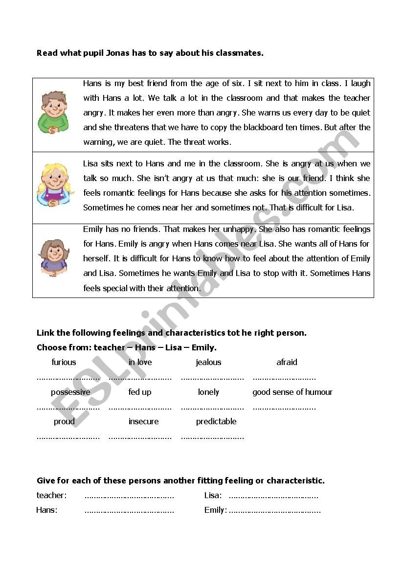 Reading exercise on vocabulary feelings and characteristics