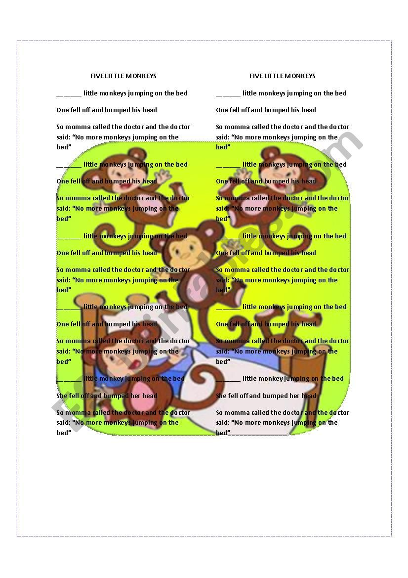 NUMBERS. Five little monkeys worksheet