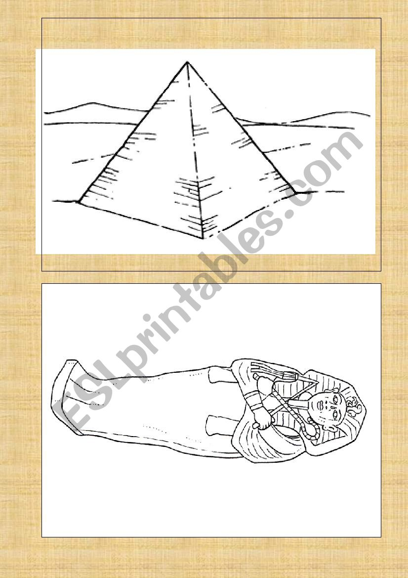 Ancient Egypt flash cards worksheet