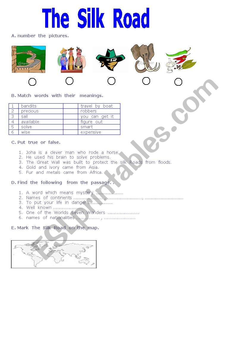English Worksheets The Silk Road