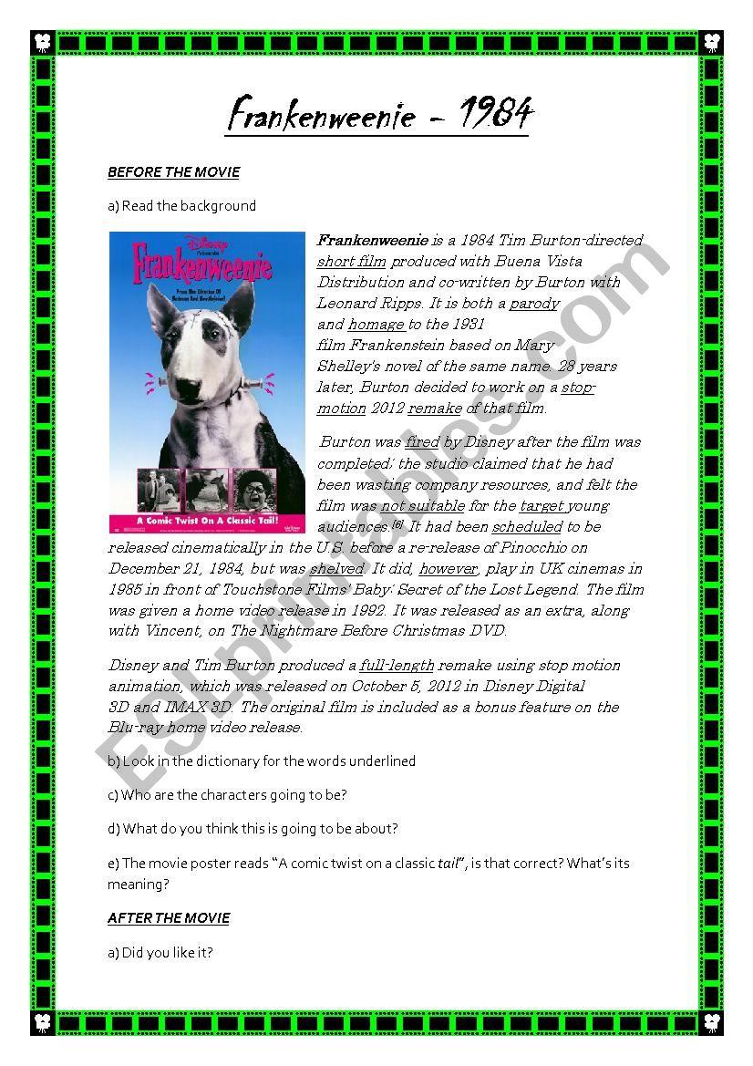 Frankenweenie Short Film 1984 Tim Burton Worksheet Esl Worksheet By Tamisotelo